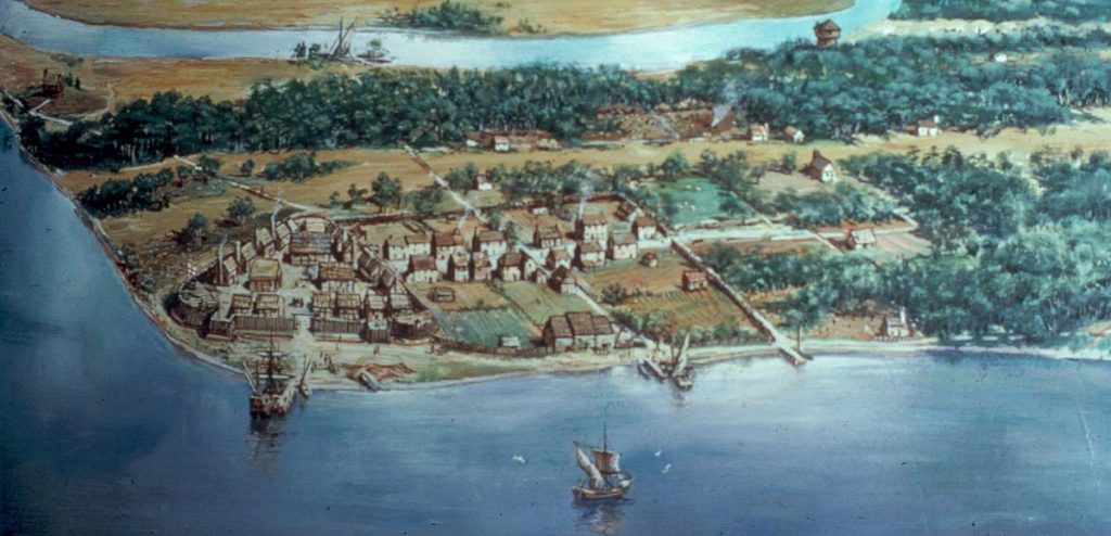 an illustrated map of colonial Jamestown